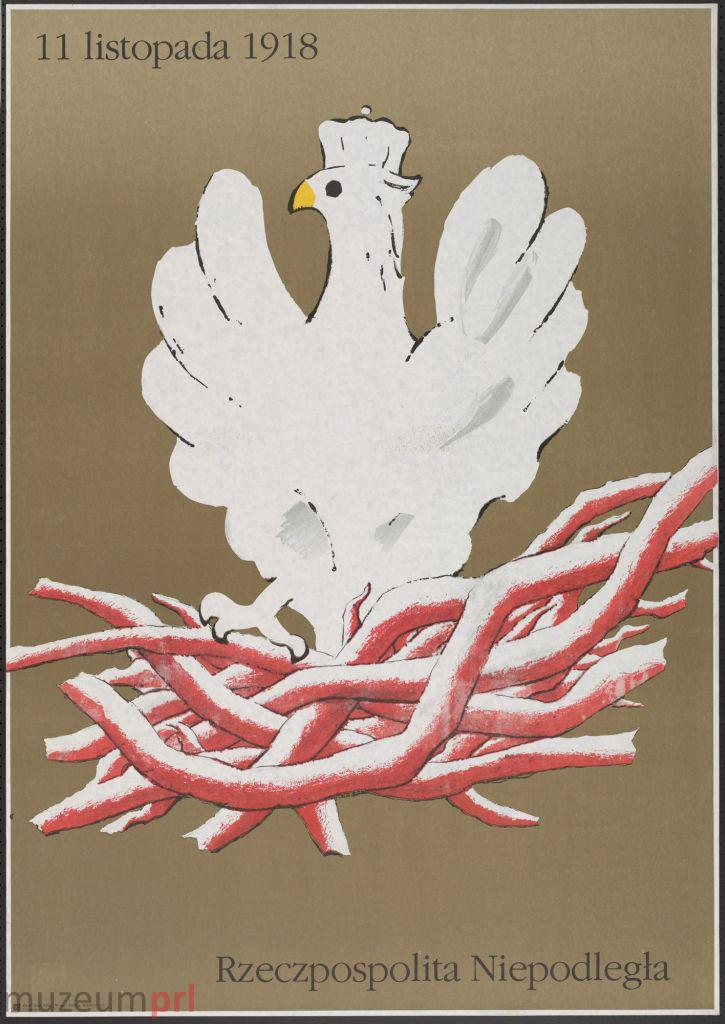 """wizerunek  """"11 listopada 1918 – Rzeczpospolita Niepodległa"""" – plakat propagandowy"""
