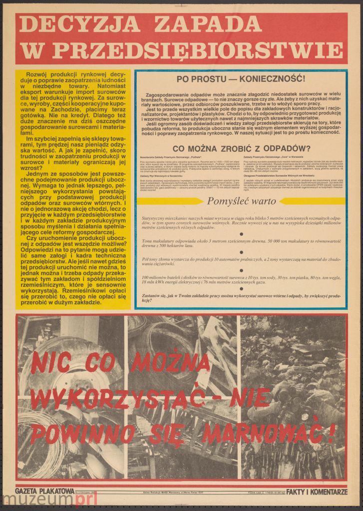 """wizerunek  """"Decyzja zapada w przedsiębiorstwie"""" – gazeta plakatowa"""