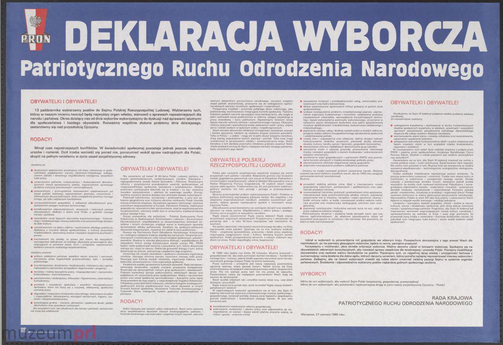 """wizerunek  """"Deklaracja wyborcza Patriotycznego Ruchu Odrodzenia Narodowego"""" – afisz"""
