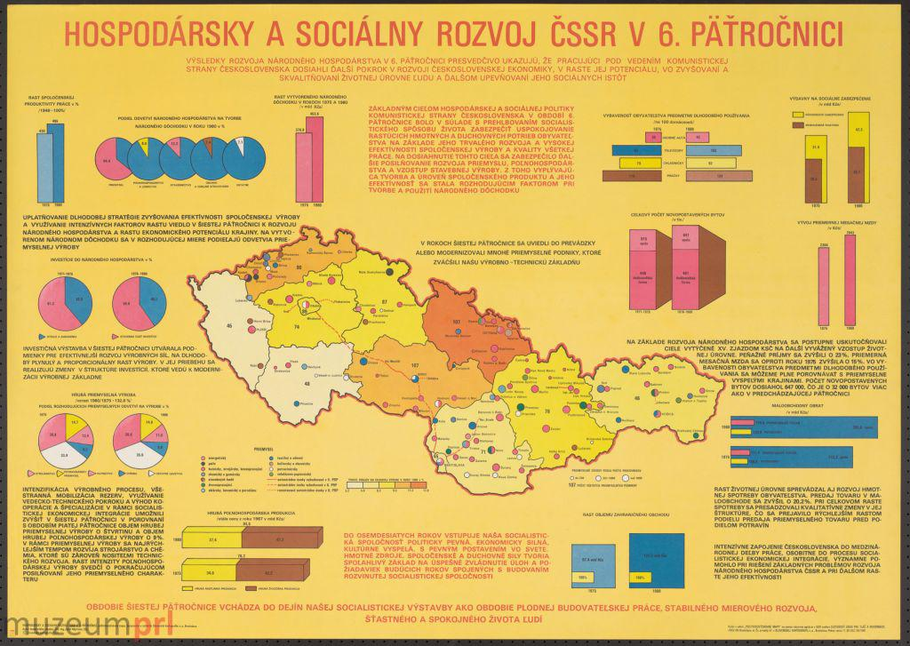 """wizerunek  """"Hospodársky a sociálny rozvoj ČSSR v 6. päťročnici"""" – plakat propagandowy"""