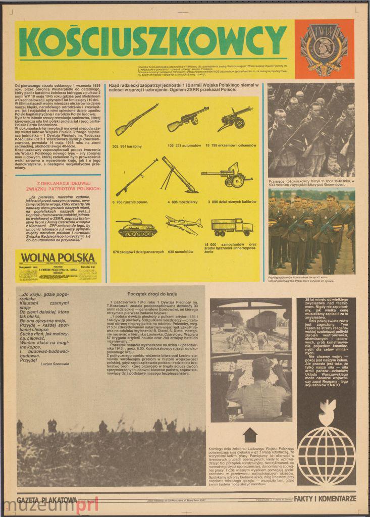 """wizerunek  """"Kościuszkowcy"""" – gazeta plakatowa"""