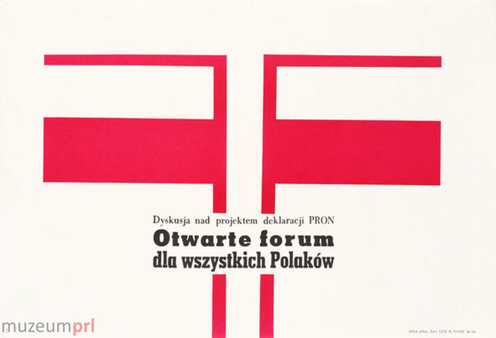 "wizerunek  ""Dyskusja nad projektem deklaracji PRON"" – plakat propagandowy"